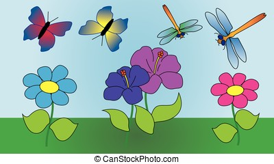 Two butterflies and two dragonflies fly.