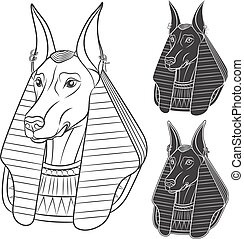 Set of black and white images with Anubis. Vector isolated...