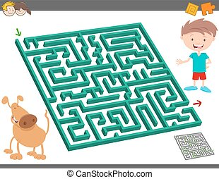 maze leisure activity game for kids - Cartoon Illustration...