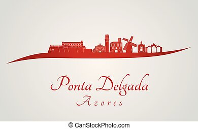 Ponta Delgada skyline in red and gray background in editable...