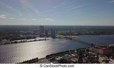 Riga old town video - Riga old town aerial view from drone...
