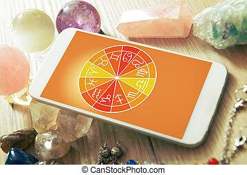 móvil, concepto, moderno, astrología