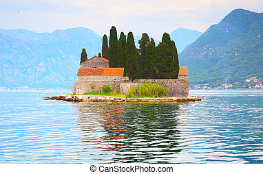 St. George Island in the Kotor Bay near Perast town,...