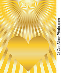 Abstract Golden Heart Sunburst Background