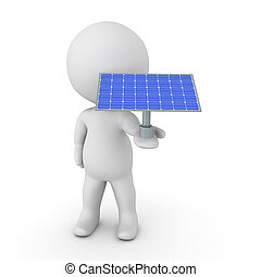 3D Character holding solar panel in his hand
