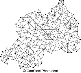 Map of Rwanda from polygonal black lines and dots of vector...