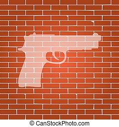 Ilustración, whitish, pared, arma de fuego, señal, Plano de...