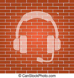 Support sign illustration. Vector. Whitish icon on brick...