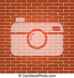 Digital photo camera sign. Vector. Whitish icon on brick...
