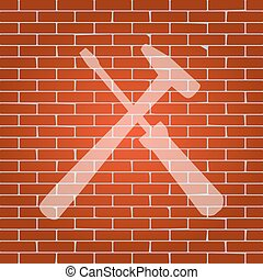 Tools sign illustration. Vector. Whitish icon on brick wall...