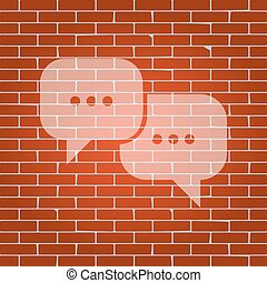 Speech bubbles sign. Vector. Whitish icon on brick wall as...