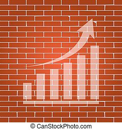 Growing graph sign. Vector. Whitish icon on brick wall as background.
