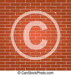 Copyright sign illustration. Vector. Whitish icon on brick wall as background.