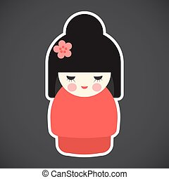 Kokeshi doll vector flat icon, Flat design of kawaii...