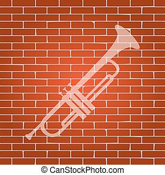 Musical instrument Trumpet sign. Vector. Whitish icon on...