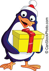 Christmas Penguin - Cute Christmas penguin holding a gift