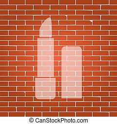 Pomade simple sign. Vector. Whitish icon on brick wall as...