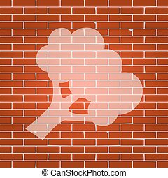 Broccoli branch sign. Vector. Whitish icon on brick wall as...