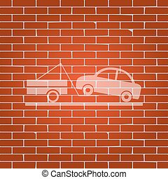 Tow truck sign. Vector. Whitish icon on brick wall as background.