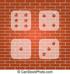 Devils bones, Ivories sign. Vector. Whitish icon on brick wall as background.
