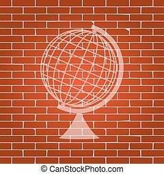 Earth Globe sign. Vector. Whitish icon on brick wall as...