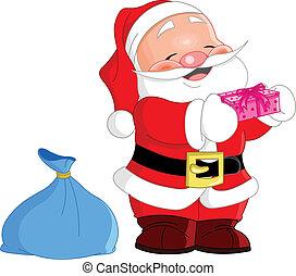 Cute Santa - cute Santa Claus holding a gift