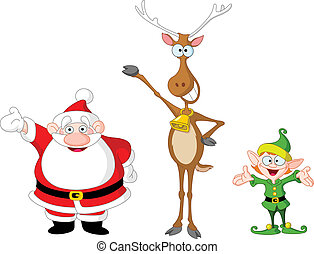 Santa rudolph elf - Very cute Santa Claus, rudolph and elf
