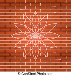 Flower sign. Vector. Whitish icon on brick wall as background.