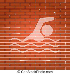 Swimming water sport sign. Vector. Whitish icon on brick wall as background.