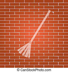 Sweeping broom sign. Vector. Whitish icon on brick wall as background.
