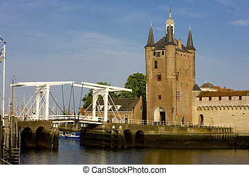 medieval gate and drawbridge, Zierikzee, Zeeland,...