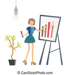A woman is showing a graph. Business presentation in the office of the company. Vector illustration, isolated on white.