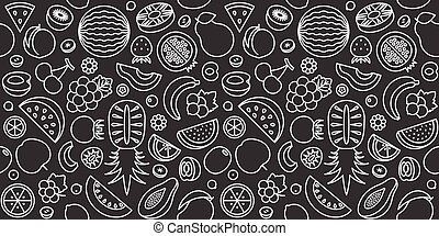 seamless pattern of fruits in outline icon, black and white...