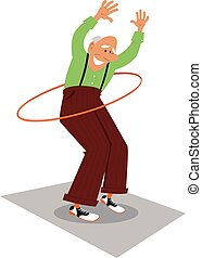 Never stop moving - Elderly man using hula hoop, EPS 8...