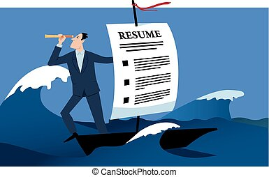 Job search - Man travelling on a boat with a sail made of a...