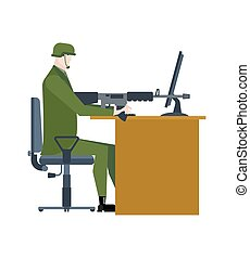 Military at work. Office soldier war. warrior is sitting at table with gun