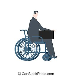 Businessman handicapped in wheelchair. Manager with suitcase