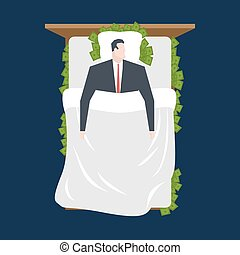 Businessman sleeping in bed of cash. Money under pillow. rich man sleeps on dollars. manager rests. Business sleep