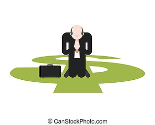 Prayer for money. Businessman is praying on his knees to...