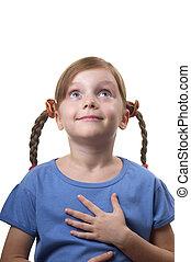 Wondering funny girl - Wondering funny little girl portrait...