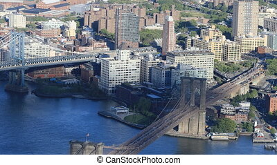 Aerial view of Manhattan and Brooklyn Bridges - An aerial...