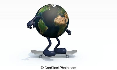 Planet earth with arms and legs on skateboard, 3d animation.
