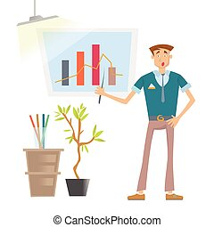 A Man is showing a graph. Business presentation in the office of the company. Vector illustration, isolated on white.