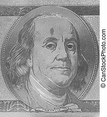 Silver portrait of U.S. president Benjamin Franklin