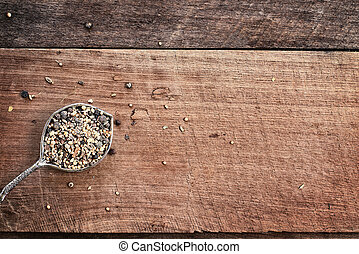 Pickling Spices - Flatlay image of a tablespoon of pickling...