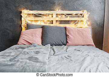 Bed with headboard - Cozy dreamy bed with decorated DIY...