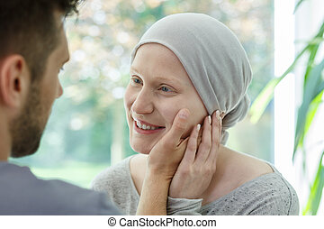 Woman feeling better - Young sick woman feeling better after...