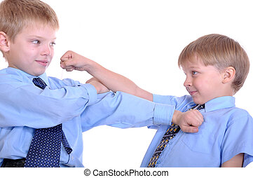 boys fighting - Two schoolboys fighting. Isolated over...