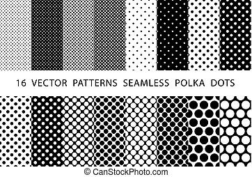 16  VECTOR  PATTERNS  SEAMLESS  POLKA  DOTS set Black and white