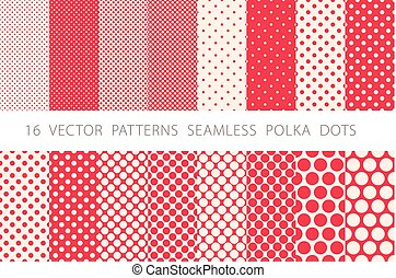 16 VECTOR PATTERNS SEAMLESS POLKA DOTS set red background